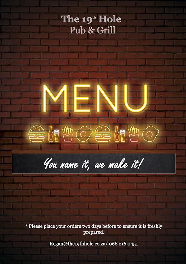 the 19th hole menu